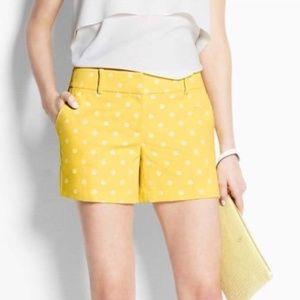 Ann Taylor Yellow White Polka Dot Shorts